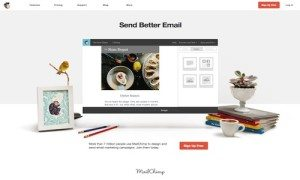 Photos of Mail Chimp's offerings and homepage.