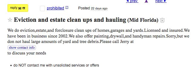 Jerry's Hurricane Clean Up Craigslist Ad